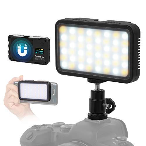 LUMINO Videoleuchte LED, 2700K-6500K Taschengröße Dimmbare Videolampe, CRI95+, EFF Mode wiederaufladbares Light Panel, Dauerlicht für Handy iPhone Android Huawei Samsung, Kamera, Camcorder PL5