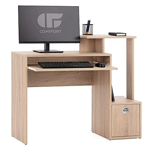 COMIFORT Scrivania - Scrivania per computer di design, 3 altezze, 1 ripiano 1 cassetto e supporto tastiera estraibile, scrivania economica e moderna, colore: NALON Sonoma