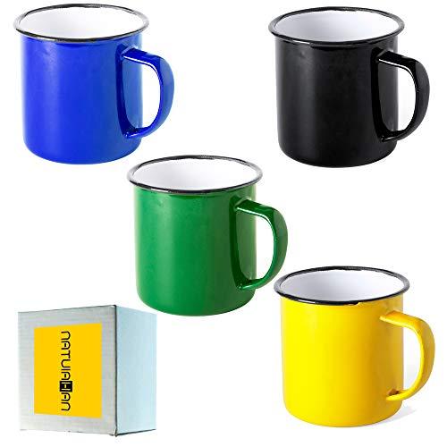 Natuiahan 4 Tazas de Metal Esmaltado. Set de 4 Tazas de Diseño Vintage. Acabado con Imperfecciones. Azul, Amarillo, Negro y Verde.