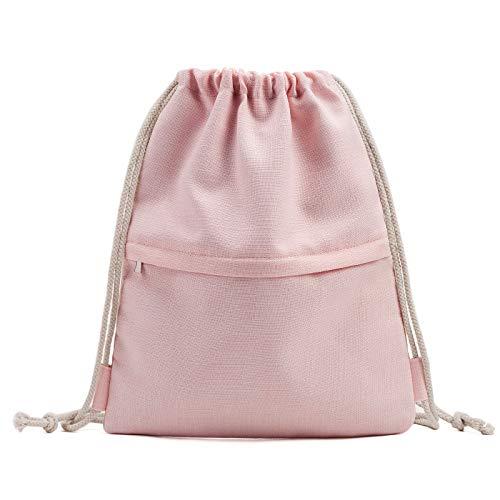 KALIDI Turnbeutel mit Reißverschlusstasche Sportbeutel Wasserabweisender Gymsack Gym Bag Beutel Rucksack Unisex für Freizeit