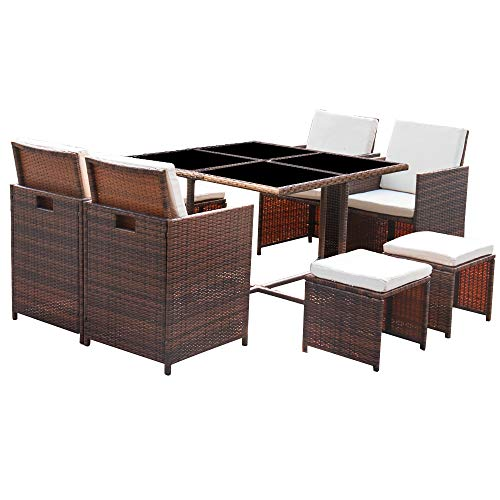 Homall 9 Pieces Patio Dining Sets Outdoor Furniture Patio Wicker Rattan Chairs and Tempered Glass Table Sectional Set Conversation Set Cushioned with Ottoman (Brown)