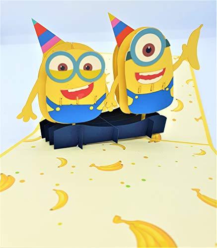 BC Worldwide Ltd handgemachte 3D-Pop-up-Karte Minions Banane Geburtstag Kind Kind Party Einladung Hochzeitstag Vatertag zurück zur Schule Babyparty Geburt Grüße