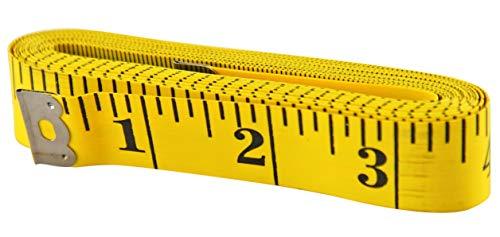 HOME-X Cinta métrica extra larga, cinta métrica suave, medidas corporales, cinta métrica de costura, marcas de impresión grandes, 120 pulgadas de largo, amarillo