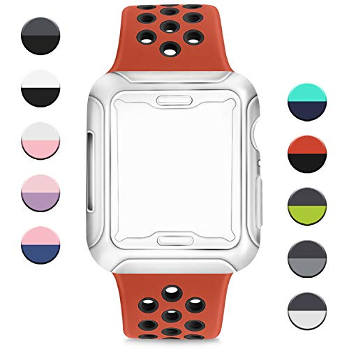 AK Cinturino per Apple Watch 38mm 40mm 42mm 44mm,Cinturini Sportiva in Silicone Morbido e Traspirante con Custodia Protettiva per Apple Watch Serie 5 4 3 2 1 (Rosso/Nero, 42/44mm M/L)