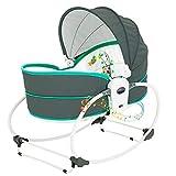 5 In 1 Baby Bequemer Elektrischer TüRsteher Stuhl, Baby Schaukelbett, Automatische Schaukel & TüRsteher Mit Spielzeug- Und Musikvibrationsbox, Kann Sitzen Kann Korb Heben,Green