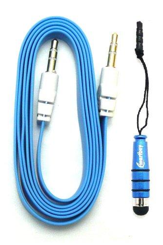 Emartbuy® Aux Packfür Oppo R5s / Oppo R7 Lite / Oppo R7s - Blau Metallic Mini Eingabestift + Blau FlachAnti-TanglezusätzlichesStereo3,5 mm Stecker