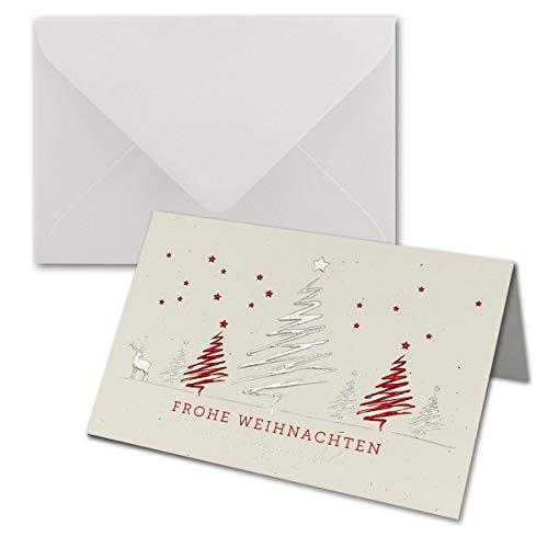 Lot de 250 cartes de Noël DIN B6 - Cartes doubles écologiques avec gaufrage métallique argenté/rouge - Motif sapin avec cerfs - Enveloppes blanches incluses - Format 17 x 11,5 cm