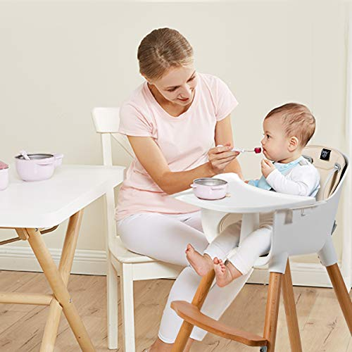 Maxmass Adjustable Baby High Chair, Toddler Dining Seats with 5-Point Safety Belt, Removable Tray, PU Cushion and Beech Feet, Booster Seats for 6 Months to 3 Years