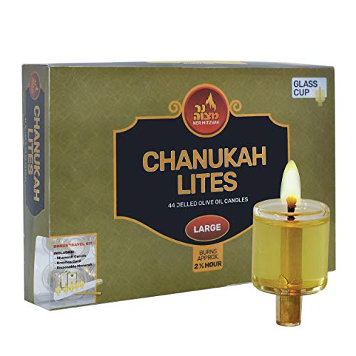 Ner Mitzvah Menorah Jelled Oil Cup Candles - Pre-Filled Hanukkah Chanukah Lights - Olive Oil with Cotton Wick in Glass Cup - Large Size, 44 per Pack, Burns Approx. 2.5 Hours