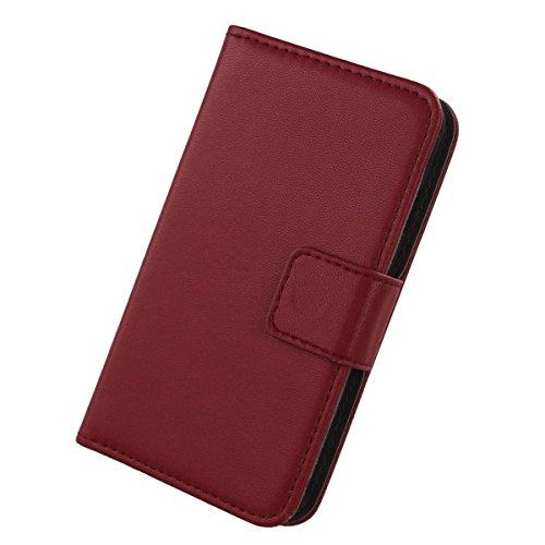 Gukas Design Echt Leder Tasche Für Kazam Th&er 345L Hülle Handy Flip Brieftasche mit Kartenfächer Schutz Protektiv Genuine Premium Hülle Cover Etui Skin Shell (Dark Rot)
