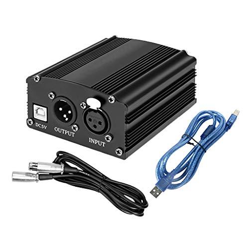 angwang Cabo USB Phantom portátil de 1 canal, 48 V, cabo de alimentação XLR de 3 pinos para qualquer microfone condensador