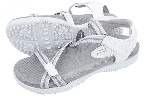 Sandbaggers Galia Women's Golf Sandals (8, White)