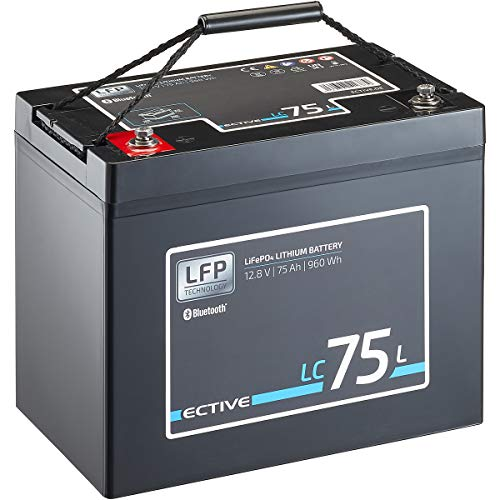 ECTIVE LC75L BT 12V 75Ah 960Wh LiFePO4-Batterie mit Bluetooth-Funktion Lithium-Eisenphosphat Versorgungs-Batterie inklusive App