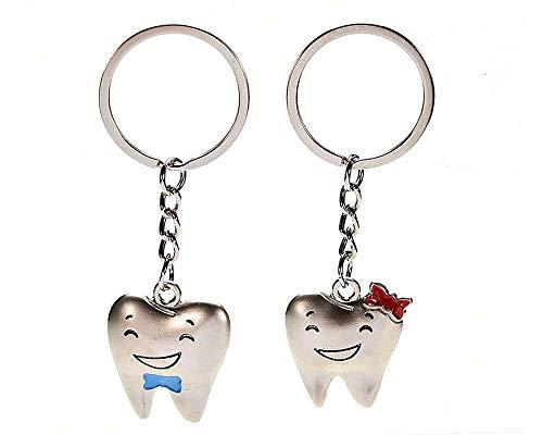 💗 Schlüsselanhänger Zahn Zähne für Paare / Geliebte im Set Zahn