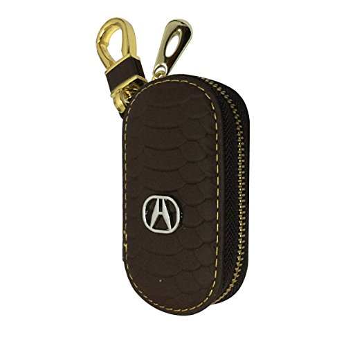 New 1pcs Brown Leather Oval Shaped With Gold Color Clasp Car Key Wallet Zipper Case Keychain Coin Holder Metal Hook Bag Collection For Acura Car Vehicle Auto Lover