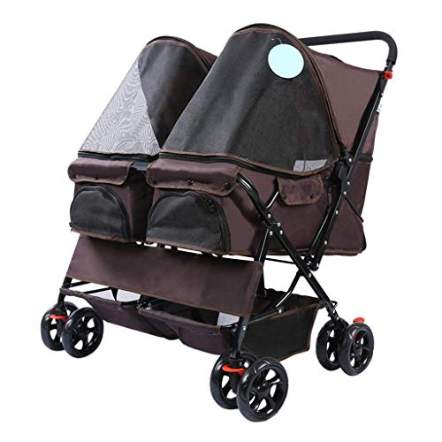 Cochecito de bebé ligero Portátil Doblando 4 ruedas Double Pet Stroller Dos gatos Perros Pequeños Animales Pequeño Carrito Carrito Easy Walk Travel Jogger con 360 Ruedas delanteras giratorias