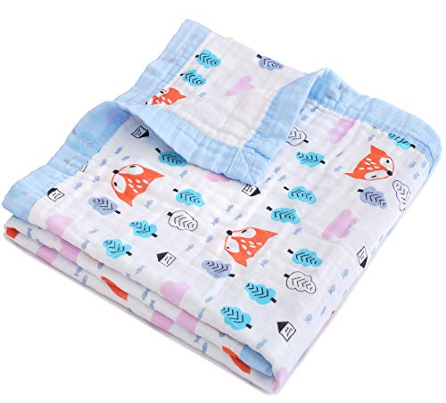 Jay & Ava Baby Muslin Blanket, Organic Cotton, 4 Layers, Soft, Hypoallergenic, Breathable Quilt, Nursery & Crib Blanket, Stroller Blanket for Toddler, Perfect (Orange Fox)