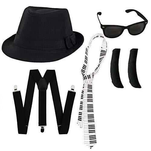 Juego de accesorios para disfraz de fantasía, 58 cm, gorro de FEDORA negro de calidad + gafas negras con lente negra + laterales negras, banda de música americana (sombrero de 58 cm)