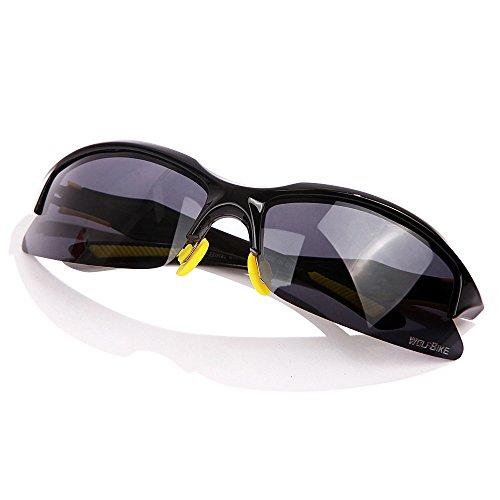 WOLFBIKE UV400 Protection Sports Sunglasses for Cycling Fishing Golf (Sunglasses-Black/Yellow)