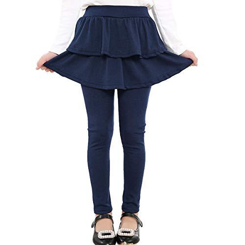 Adorel Mädchen Leggings mit Rock Einteiler Warm Hosen Marineblau 128-134 (Herstellergr. 140)