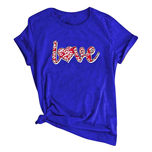 jieGorge Blusa para Mujer Casual, Moda Mujer Casual Love Letter Print Camiseta de Manga Corta con Cuello en O...
