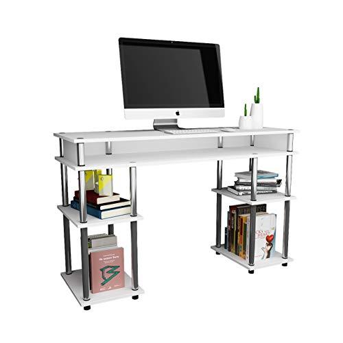 DlandHome Schreibtisch mit Ablagen Einfache Computertisch Bürotisch 120 * 40 cm Arbeitstisch PC Laptop Tisch Leicht zusammenzubauen für Zuhause/Büro,Weiß