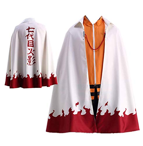HappyShip 2PCS Hokage Cloak Minato Jacket with Headband Minato Namikaze Yondaime Hokage Cape Cosplay