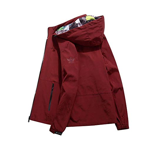 Men's Faux Leather Jacket Biker Fashion Cotton Coats Windproof and breathable hooded jacket-red_M