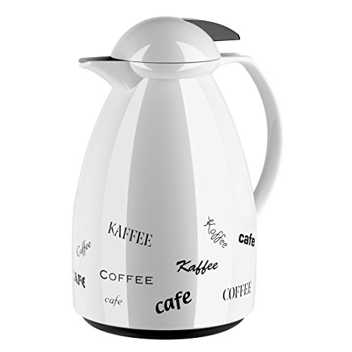 Emsa 501527 Isolierkanne, Für Kaffee oder Tee, 1 Liter, Quick Tip Verschluss, Weiß/Coffee, Tango