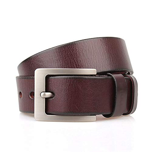 Junjiagao Ledergürtel, handgemachte Rindsleder, klassisches Design für Männer (Farbe : Braun)