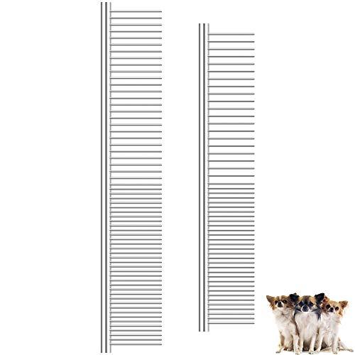 TOCYORIC Edelstahl Haustierkamm Haustierpflegekamm Abgerundete Zähne Hundekamm für Große, Mittlere und Kleine Hunde und Katzen mit verwirrtem kurzen/Langen Haar, 2 Stück