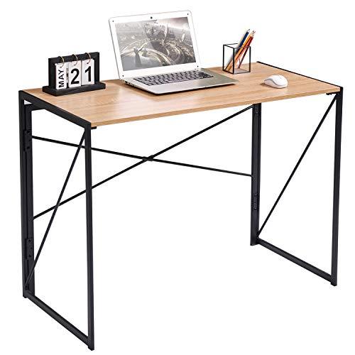Coavas Schreibtisch, Klappbar Konferenztisch, Arbeitstisch Laptoptisch Computertisch, Industrial Style, für Home und Büro, Eiche & Schwarz, 100 x 50 x 75 cm