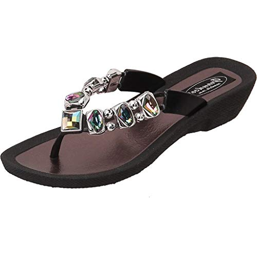 Grandco Women's AB Deluxe Jeweled Waterproof Molded Sole Summer Thong Sandals, Black, 9