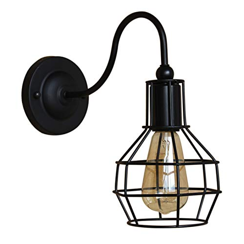 HAITOY Lámpara de Pared de diseño Retro, Estilo Vintage con Pantalla de lámpara de Jaula Lámpara de Pared Industrial de Metal para Dormitorio, Sala de Estar, Pasillo, decoración del hogar