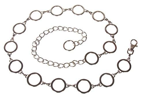 Ladies Metal Circle Chain Belt, Silver | 42