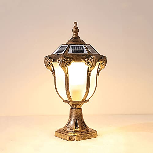 Moddeny Lámpara De Columna Solar LED Para Exteriores Atenuación Tricolor Luz De Columna De Vidrio De Aluminio Luz De Poste Impermeable Para El Hogar A Prueba Polvo Ahorro De Energía Jardín Iluminación