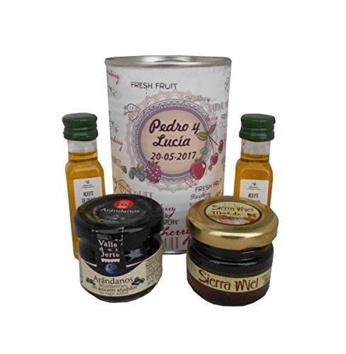 Lata con abre fácil con aceite de Oliva Vigen extra, mermelada y miel. Pack de 6 unidades