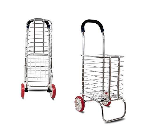 Zeybeks Chrom Faltbarer Einkaufstrolley | klappbar Einkaufswagen | Edelstahl Optik | Einkaufsroller | Trolly