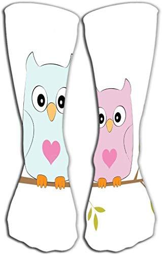 zhouyongz Calzini della novità delle Ragazze delle Donne Calzino Divertente dello Stivale Due Gufi Adorabili Uccelli Felici Che Si siedono Albero