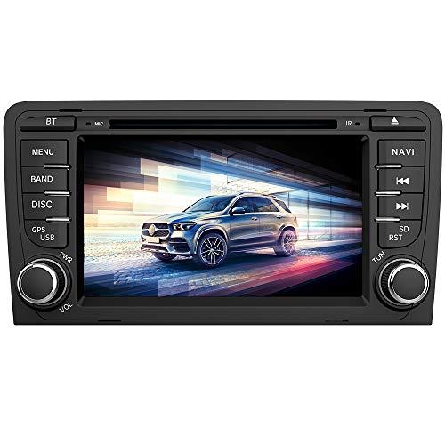 AWESAFE Autoradio 2 Din per Audi A3 S3 RS3 8P 2006-2012 7 Pollici Car Stereo Radio con Funzione CD DVD SD USB DAB Bluetooth MirrorLink Controllo del volante (DAB Antenna esclusa)