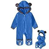 Newborn Baby Boy Girl Cute Dinosaur Hooded Romper Jumpsuit Clothes (1M, Blue B)