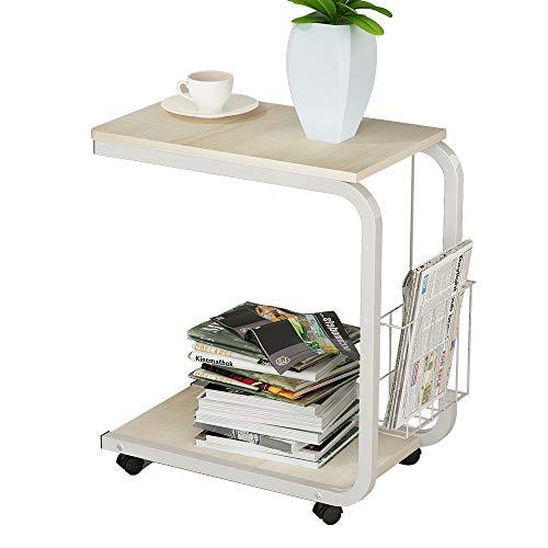 DlandHome 51 * 30 * 56cm U-förmig Beistelltisch Laptop mit Rollen Korb Computertisch Schreibtisch für DEühstück Tablett, Lesen, Bett, Sofa, Couch, Weißer Ahorn