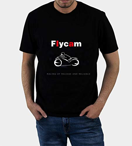 YJS Flycam Motocicleta Sportbike impresa RACING OF RELEASE AND RELIANCE Men's Funny Cool T-Shirt (M)