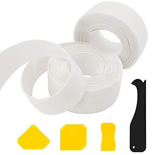 Lifreer 2 rollos de cinta sellante para bañera, 6,4 m, 4 herramientas de calafateo y raspado, de silicona, impermeable