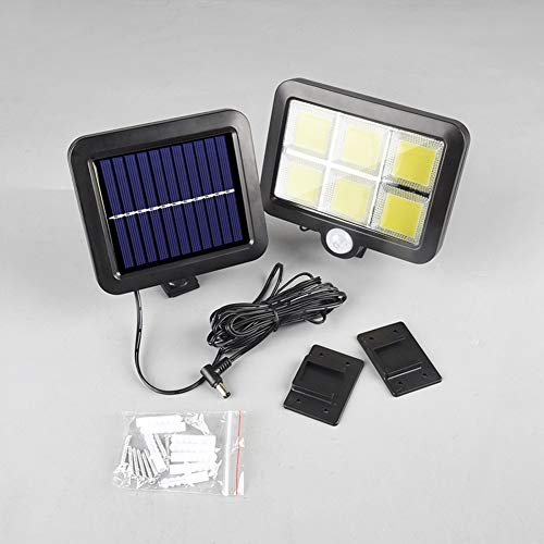 Dogggy 1 lámpara solar de 30 W 120 para exteriores, con sensor de energía solar, luz de movimiento, lámpara de seguridad para jardín, luces de pared impermeables, lámparas solares