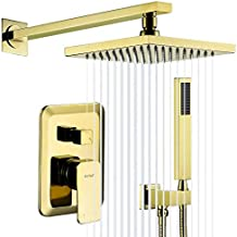 Esnbia Polished Gold Shower System, Wall Mounted Shower Faucet Set for Bathroom with High Pressure 8