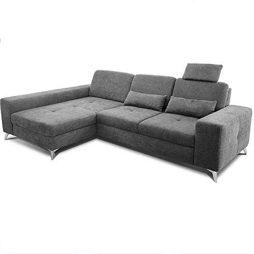 CAVADORE Ecksofa Bali / Trendige Sofaecke mit Longchair links & Federkern / Inkl. Sitztiefenverstellung, Kopfstütze & Nierenkissen / 286 x 92 x 176 / Flachgewebe: Grau