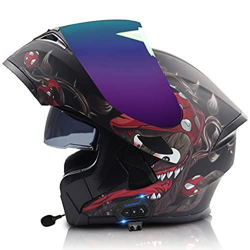 Casco de motocicleta Bluetooth Flip Up Bluetooth Casco de motocicleta modular de cara completa, aprobado por ECE/DOT, doble visera de sol incorporada, micrófono para respuesta automática (C