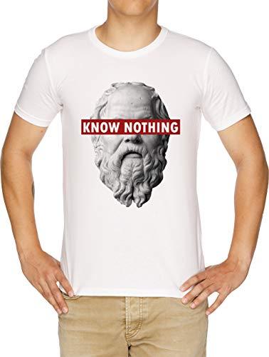 Vendax Know Nothing Socrates Humor Funny Slogan Philosophy Censored T-Shirt Uomo Bianco