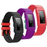 Goseth Compatible with Fitbit Ace 2 Bands for Kids 6+, Replacement Silicone Accessories Bracelet for Fitbit Ace 2 Fitness Tracker(Black+Purple+Red)